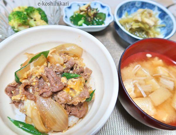 #晩ごはん  #他人丼  #ブロッコリーのおかか麺つゆ和え  #キュウリのナムル  #若ごぼうとうすあげの煮物  #豆腐とうすあげとエノキの味噌汁